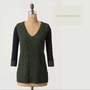 Anthropologie Dually Clad Cable Knit Sweater